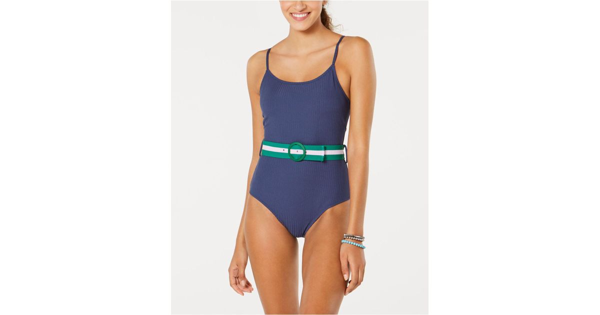 33a68bc2e4d5c Jessica Simpson Belted One-piece Swimsuit in Blue - Save 37% - Lyst