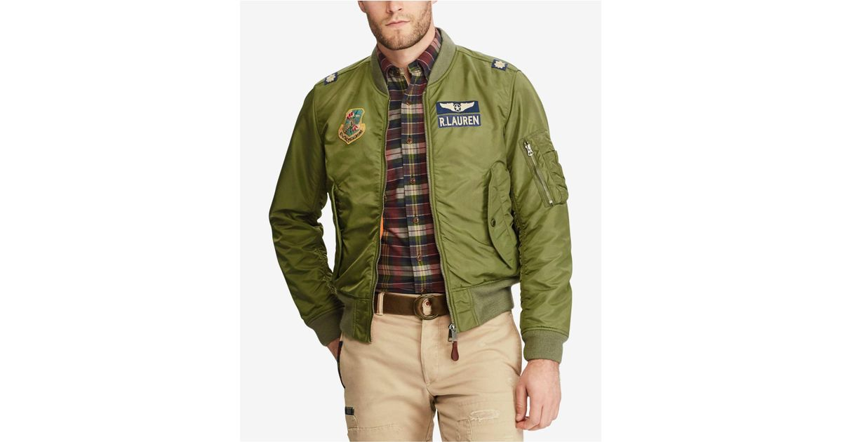 3baefc95a9 Lyst - Polo Ralph Lauren Men s Iconic Ma-1 Bomber Jacket in Green for Men