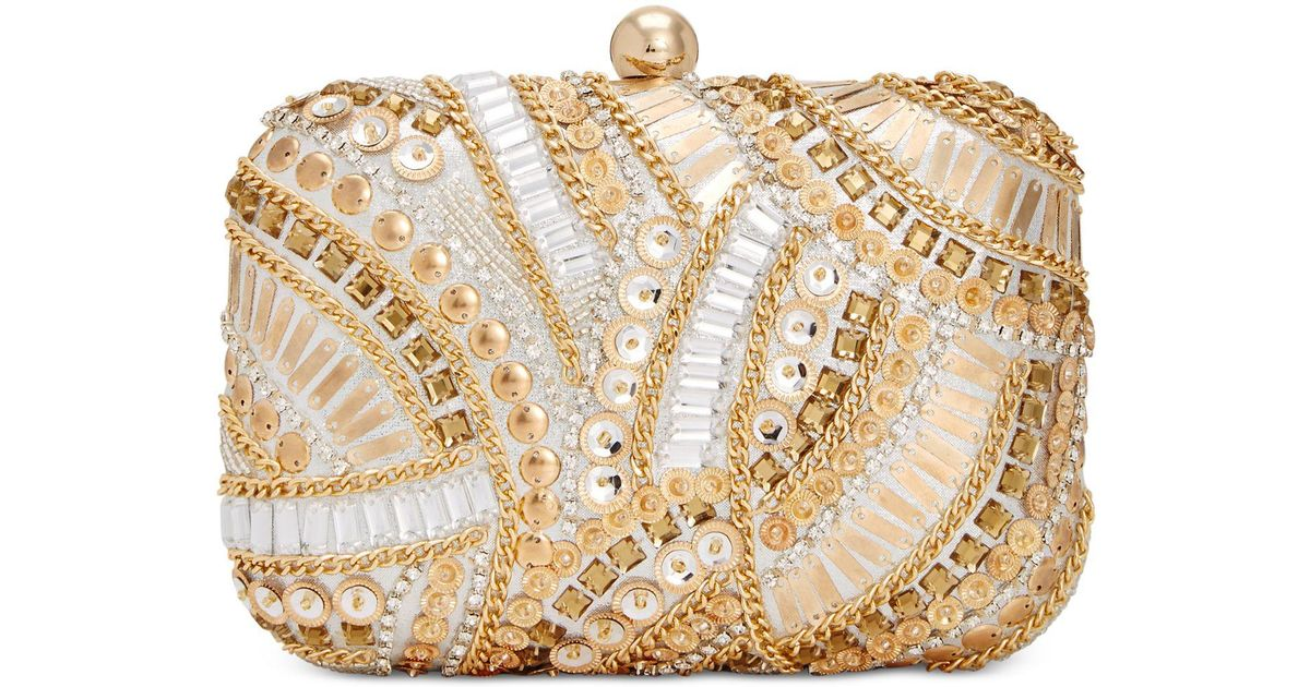 International Concepts Chain Ring Party Bag Gold I.N.C