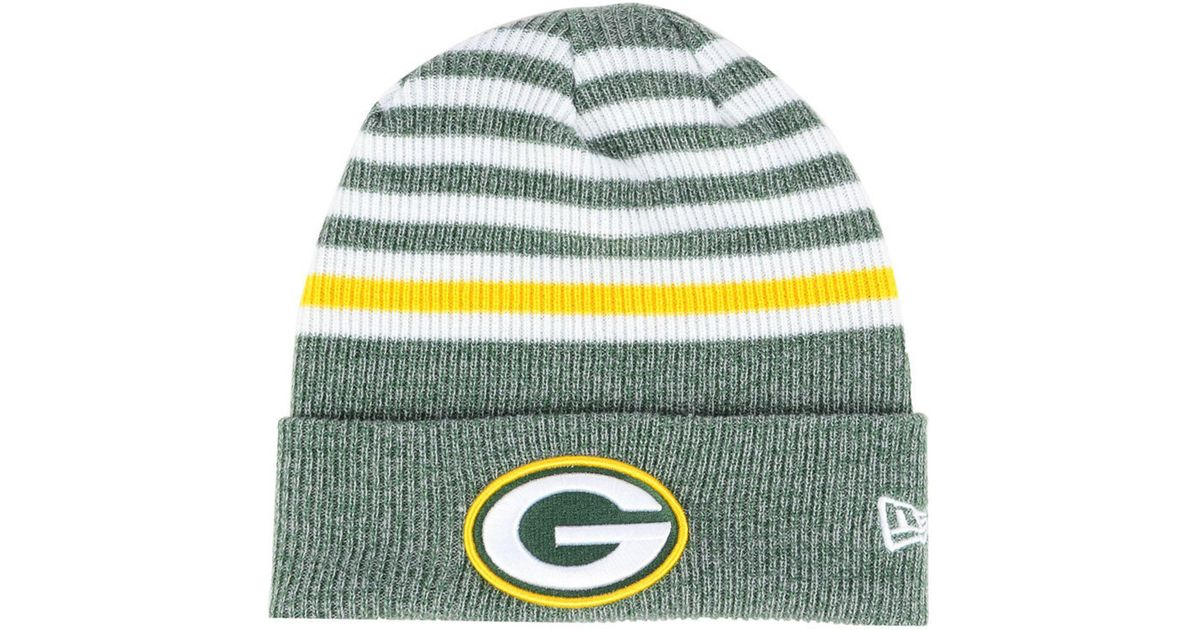 2d548d3241d Lyst - KTZ Green Bay Packers Striped2 Cuff Knit Hat in Green for Men