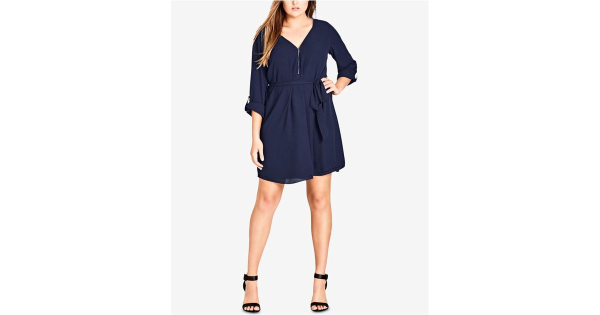Lyst City Chic Trendy Plus Size Zip Front Tunic Dress In Blue