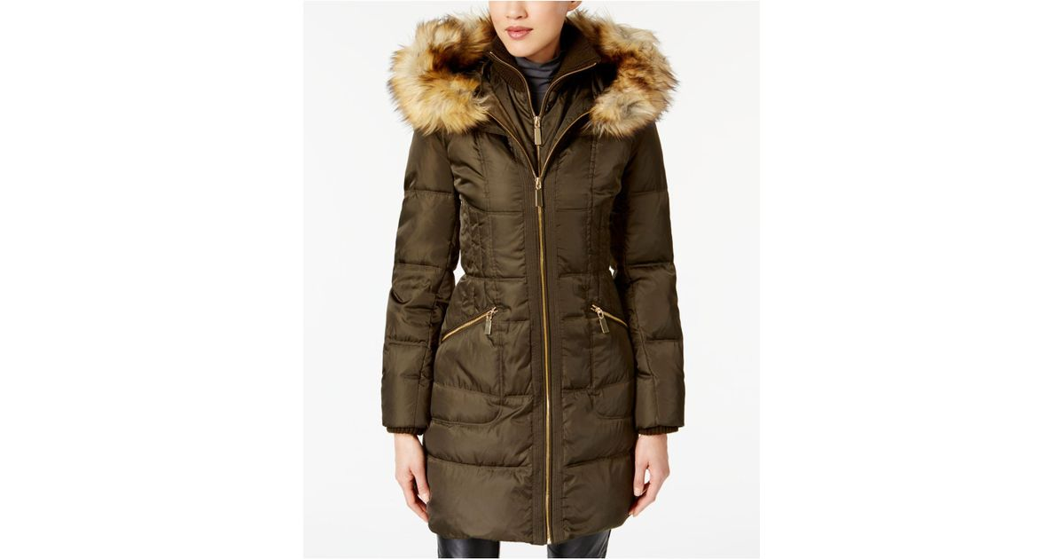 1690f28c5 Vince Camuto Green Faux-fur-trimmed Hooded Puffer Coat