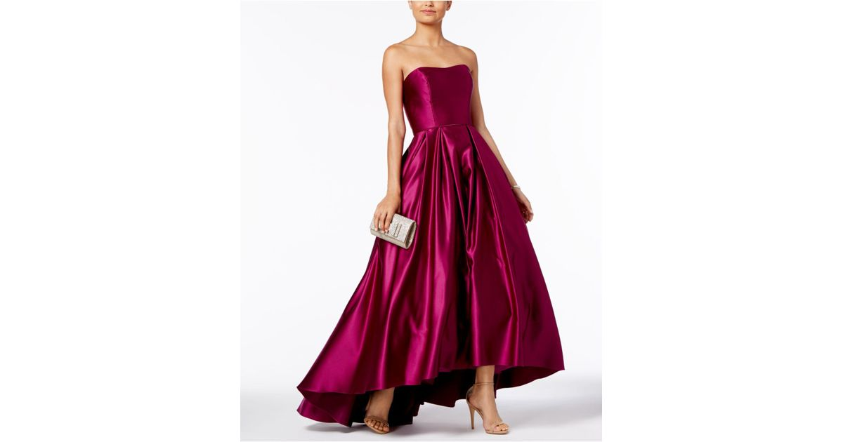 Lyst - Betsy & Adam Strapless High-low Ball Gown in Red