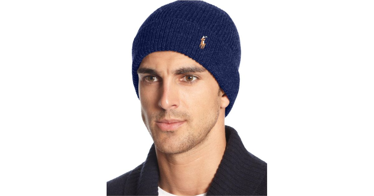 cec56a3f1 Polo Ralph Lauren Blue Signature Merino Cuffed Beanie for men
