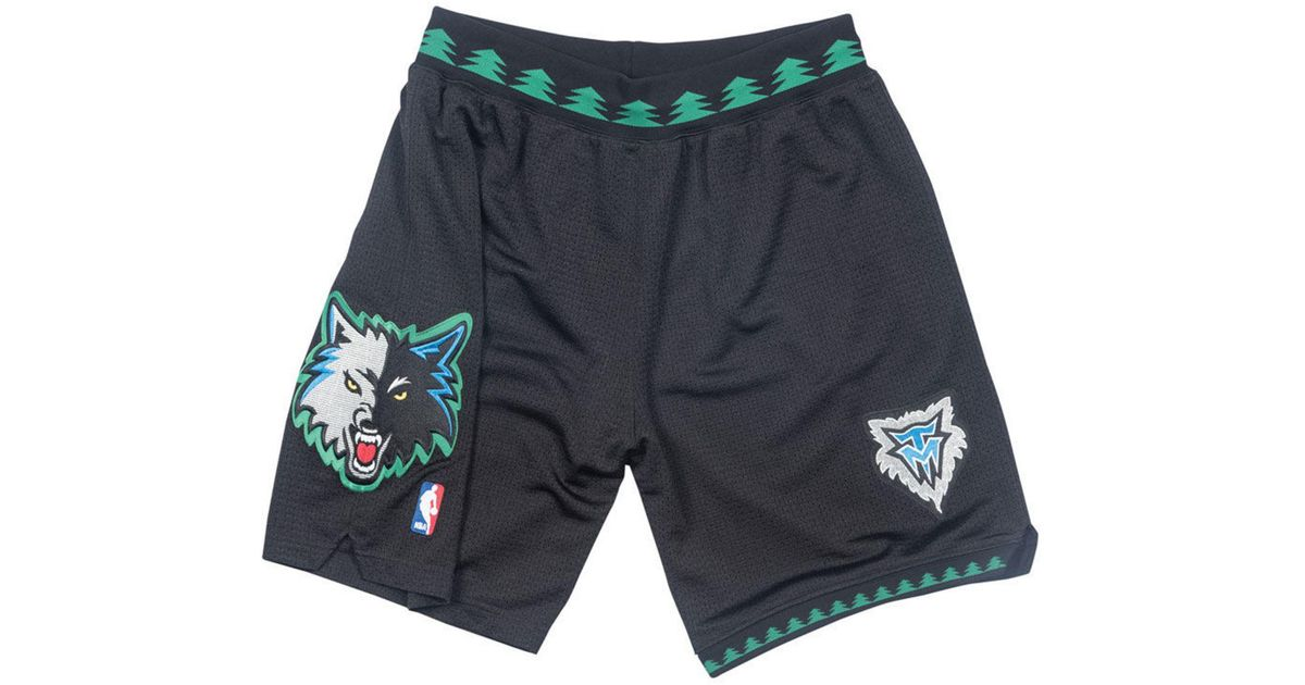 newest 12801 0e1a6 Mitchell & Ness Black Minnesota Timberwolves Authentic Nba Shorts for men