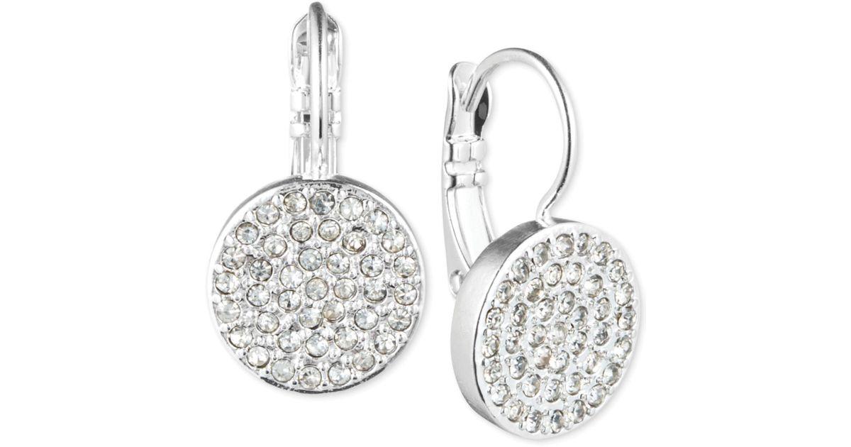 Anne Klein Crystal Pavé Disc Drop Earrings In Silver