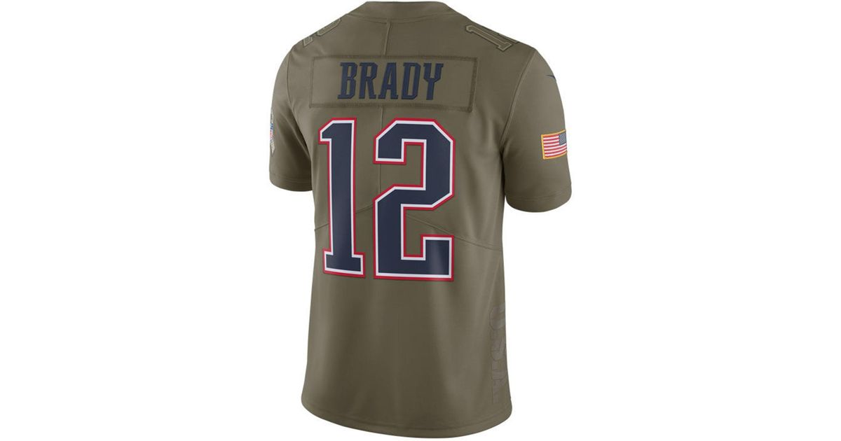 hot sale online 80345 48e35 Nike Green Tom Brady New England Patriots Salute To Service Jersey for men