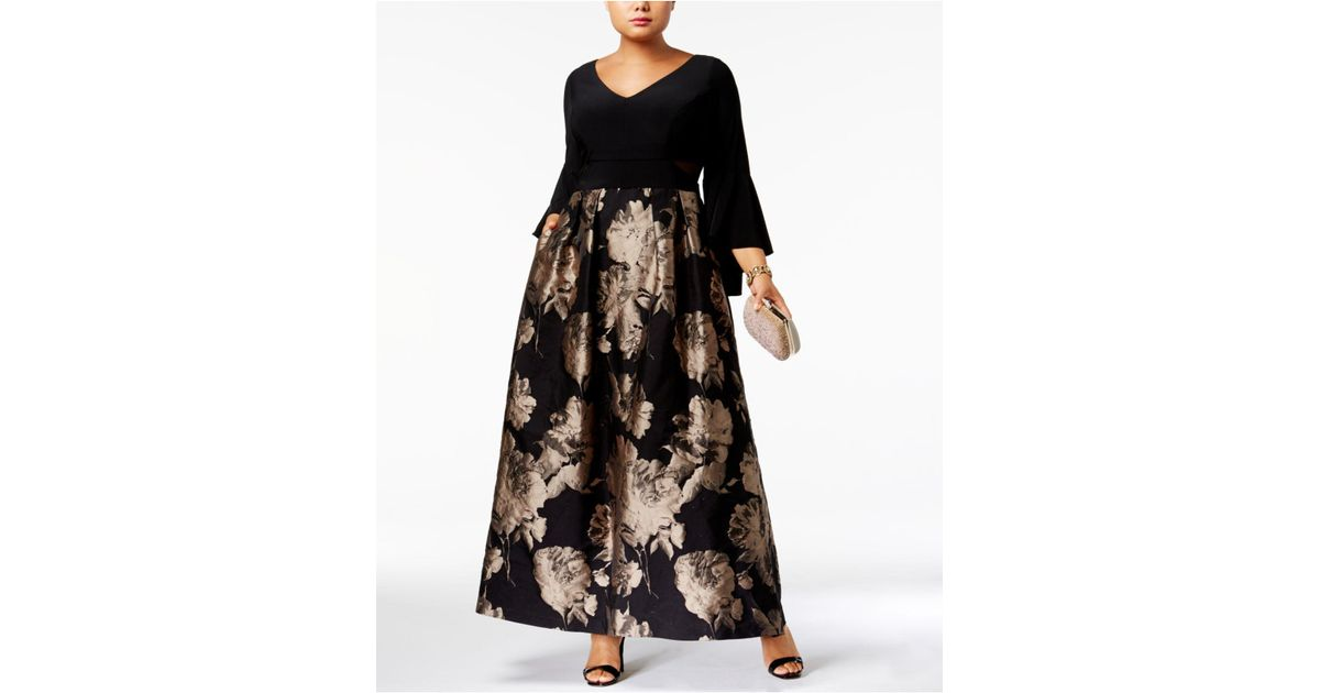 Xscape Plus Size Brocade Bell-sleeve Gown in Black - Lyst