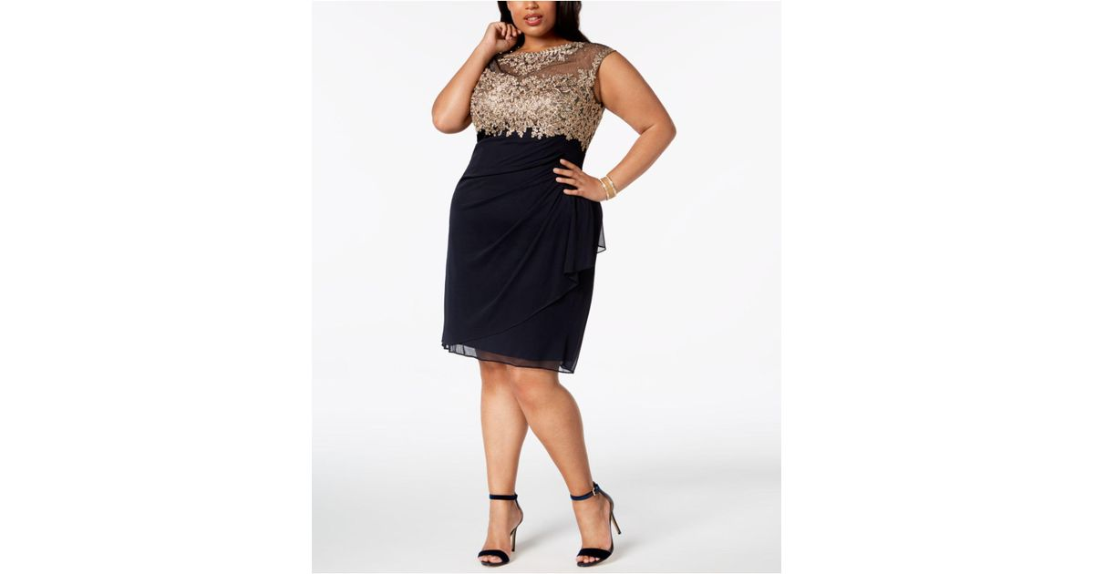 70574d14328 Lyst - Xscape Plus Size Ruched Embellished Dress in Blue