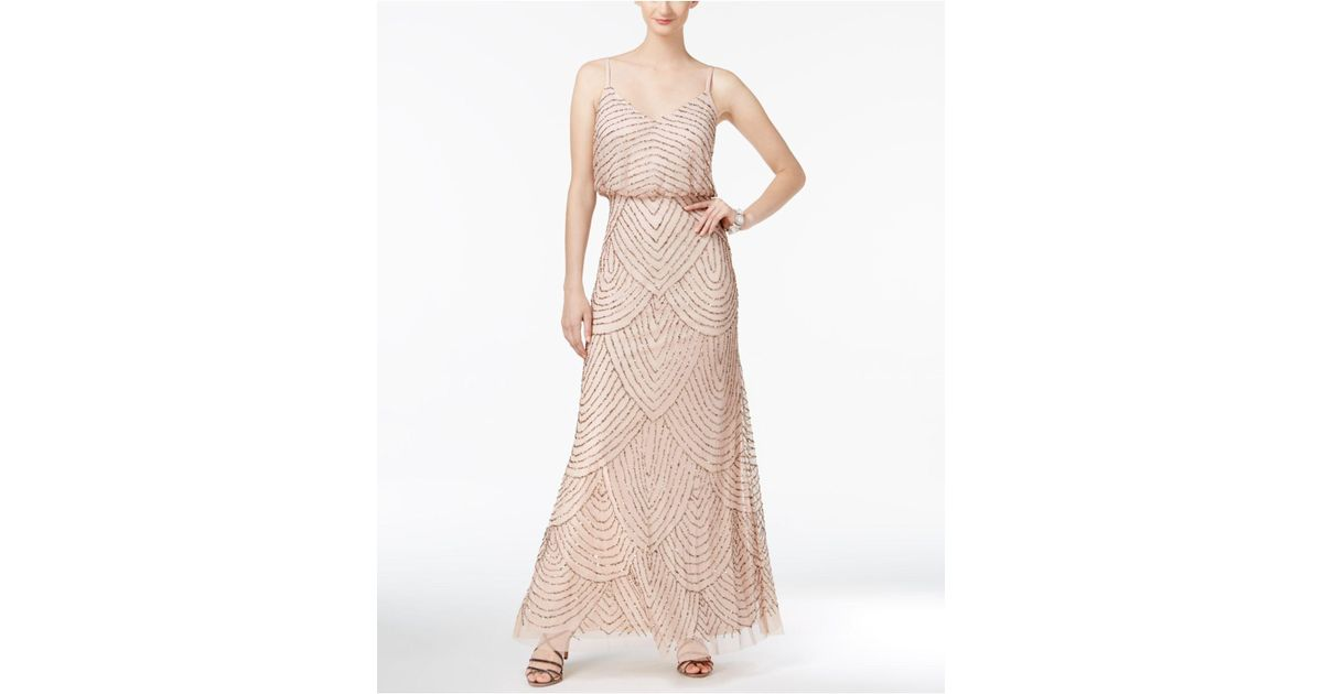 Lyst - Adrianna Papell Spaghetti-Strap Beaded Blouson Gown in ...