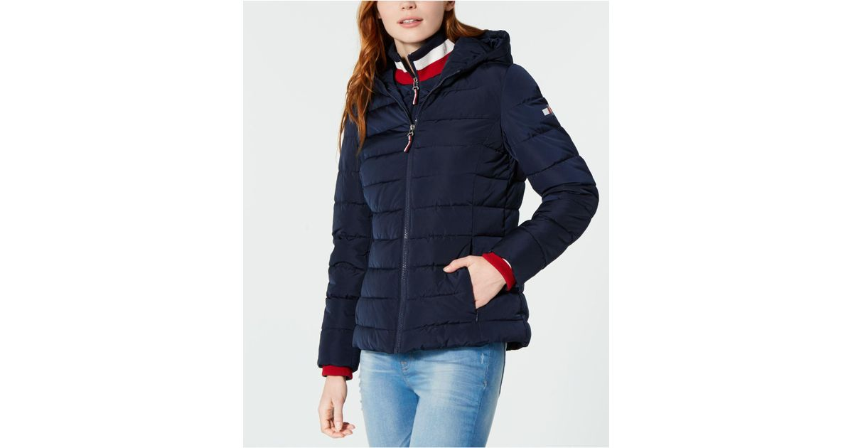 4ab30b4ef Tommy Hilfiger Knit Collar Hooded Puffer Jacket, Created For Macy's in Blue  - Lyst