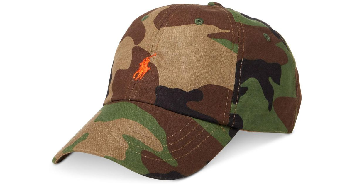 ac22fc7378bc1 Polo Ralph Lauren Men s Camo Canvas Sports Cap in Green for Men - Lyst