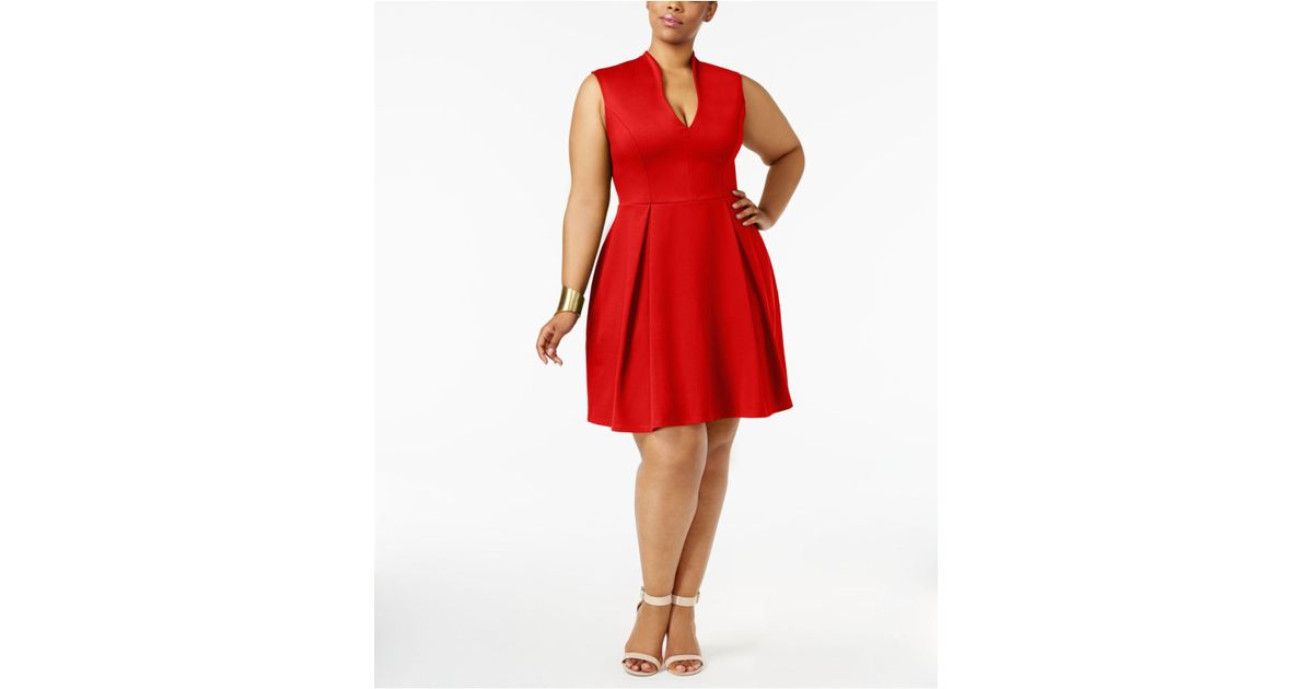 Lyst Soprano Trendy Plus Size Pleated Fit Flare Dress
