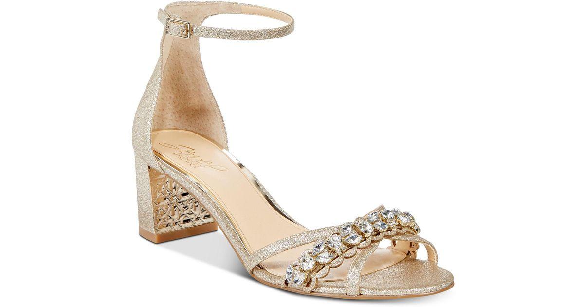 bc3dbbae21 Badgley Mischka Giona Block-heel Evening Sandals in Metallic - Lyst