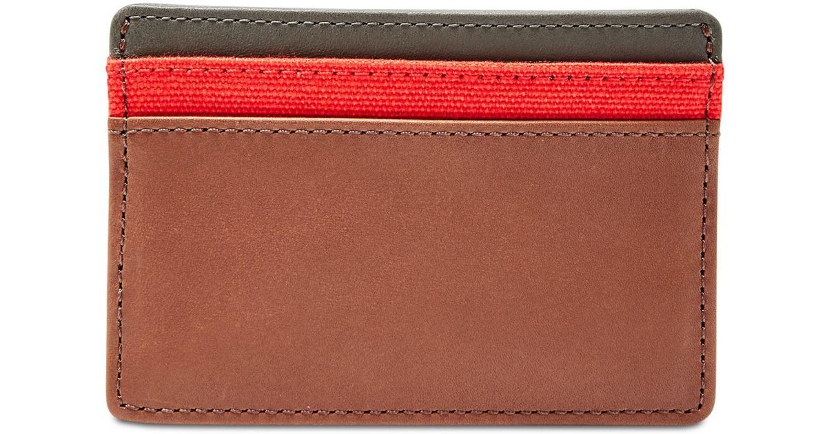 Lyst - Fossil Men\'s Leather Booker Card Case in Red for Men