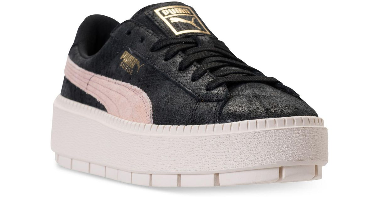 86c9c06f15f Lyst - PUMA Suede Platform Trace Shimmer Casual Sneakers From Finish Line  in Black