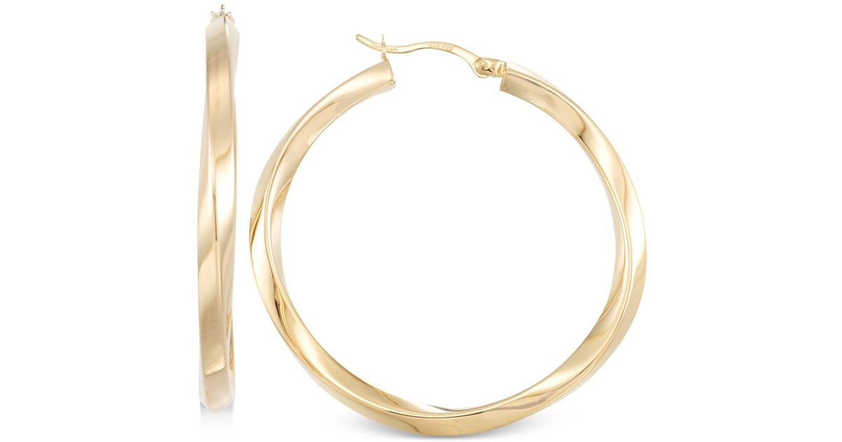 57232bc137ba0 Macy's Metallic Polished Twist Hoop Earrings In 14k Gold Over Silver Or 14k  White Gold Over Silver