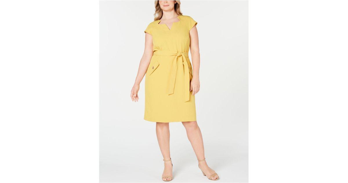 Kasper Women/'s Belted Stretch-Crepe Sheath Dress Size 14W