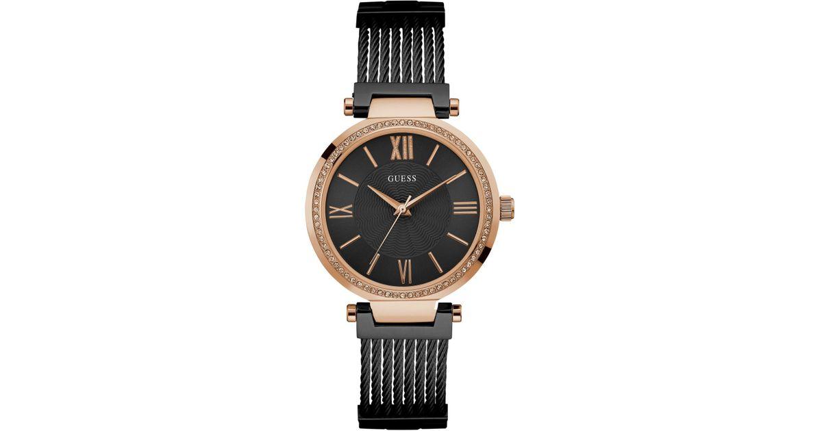 5ad6faf237a Lyst - Guess Women s Black Stainless Steel G-link Bracelet Watch 36mm  U0638l5 in Black