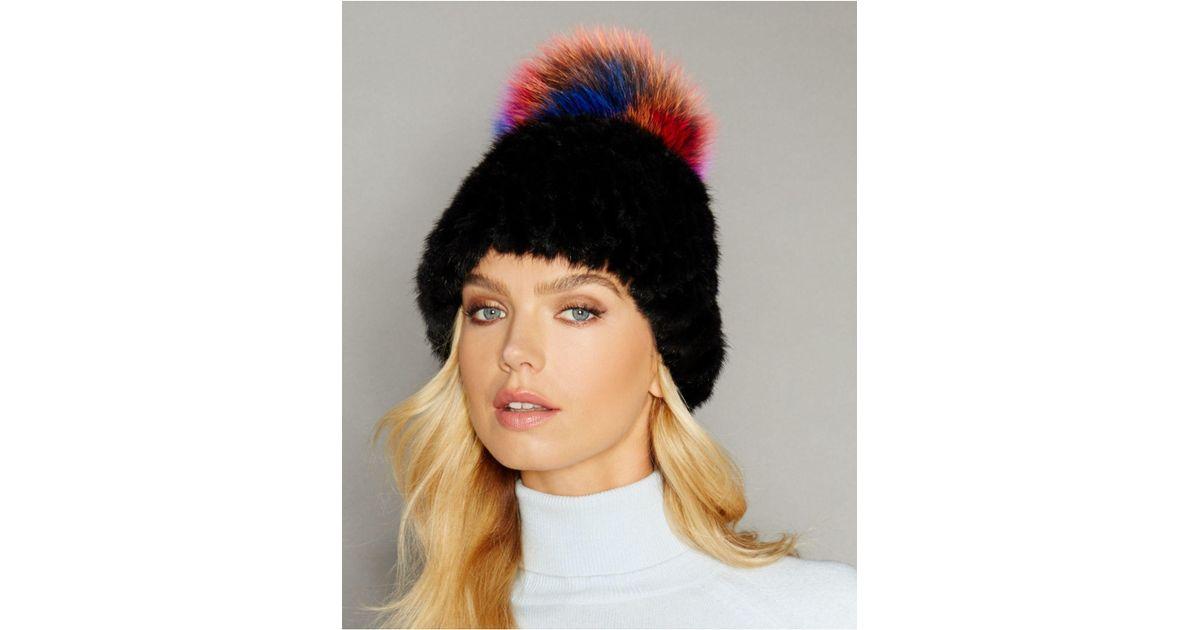 980c839d14b Lyst - The Fur Vault Fox-fur-trim Knitted Mink Fur Hat in Black