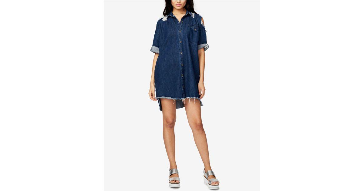 a106ee4e34 Lyst - RACHEL Rachel Roy Ripped Denim Shirtdress in Blue