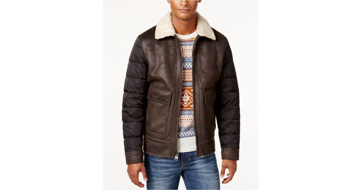4c0b4de24 Buffalo David Bitton Brown Big & Tall Men's Faux Leather-trim Bomber Jacket  for men