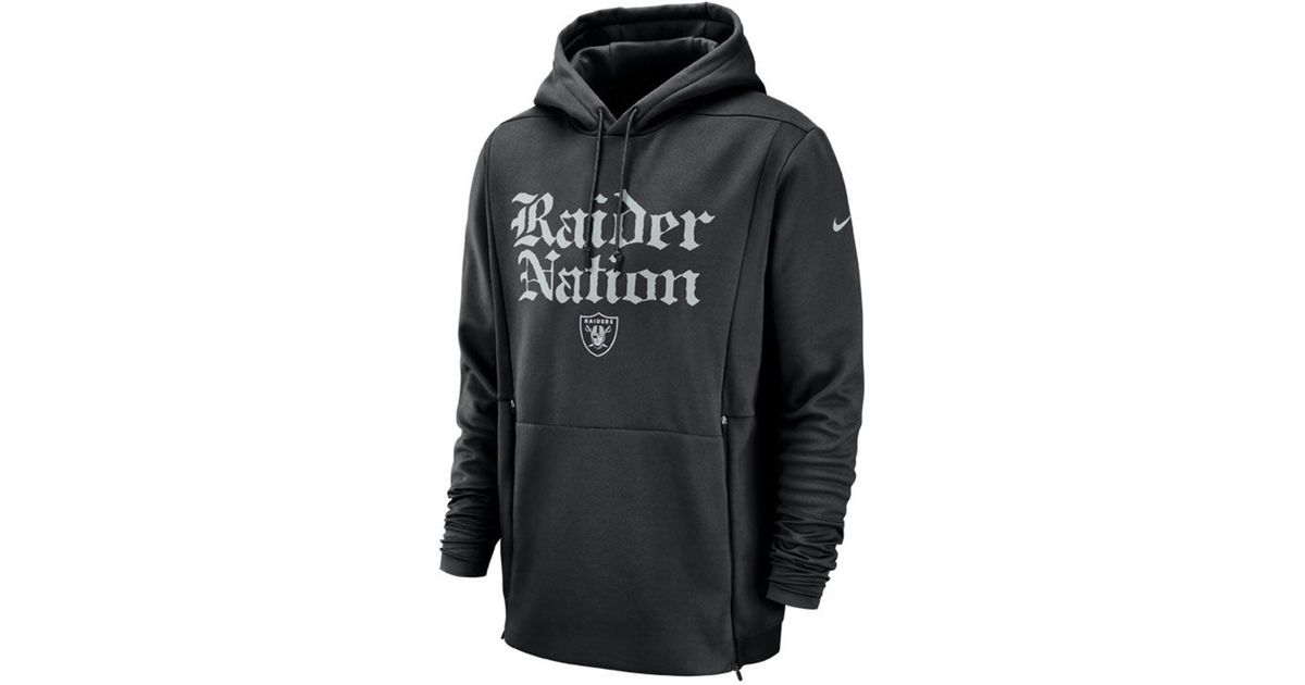 754f1a247bb4 Lyst - Nike Oakland Raiders Sideline Player Local Therma Hoodie in Black  for Men