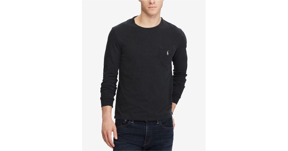 969630e3c58c ... discount code for lyst polo ralph lauren mens custom slim fit long  sleeve cotton t shirt