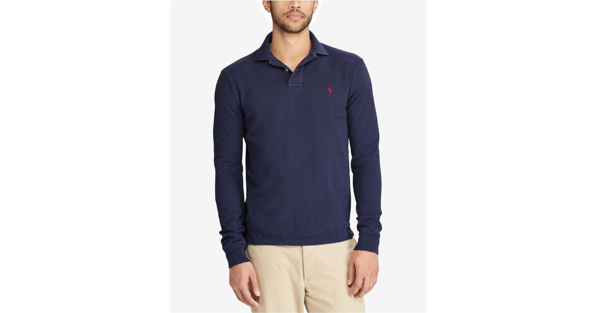 Ralph Long For Lauren Blue Fit Polo Classic Sleeve Bigamp; Men's Men Weathered Tall AR35cq4Lj