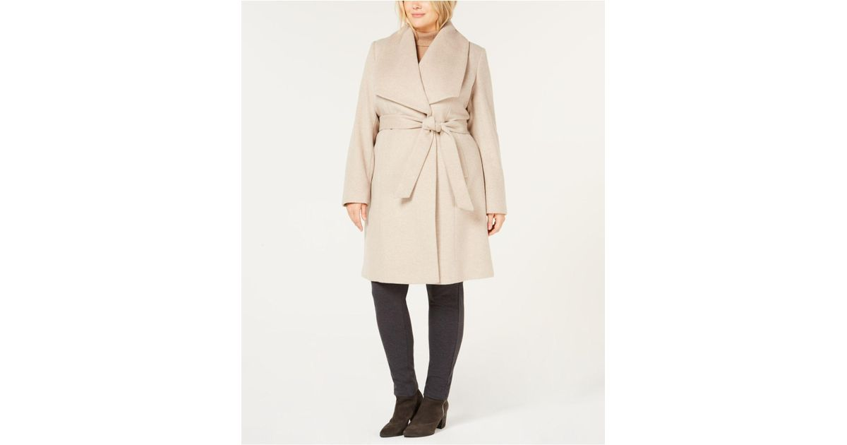 f46a37828 Cole Haan Natural Plus Size Belted Wool Wrap Coat