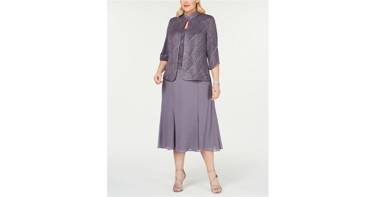 Alex Evenings Purple Plus Size Tea-length Dress & Jacket