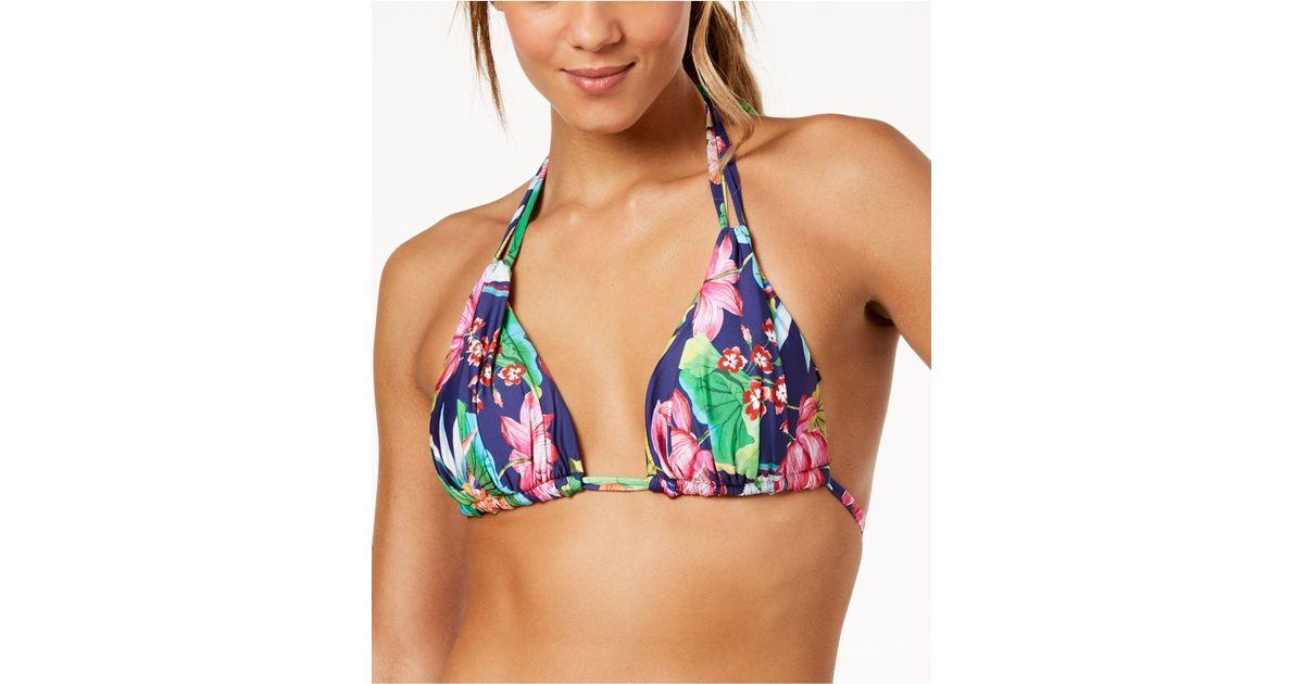 bcb2a7329b098 La Blanca Bora Bora Printed Halter Bikini Top in Blue - Lyst