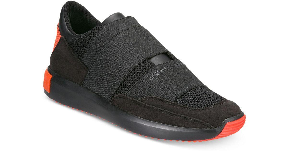 2170aa879 Lyst - Armani Exchange Men s Colorblock Strap Slip-on Sneakers in Black for  Men