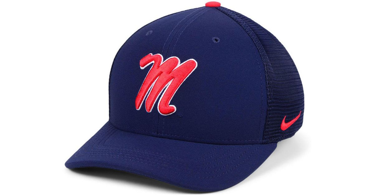 new concept 7ba6d ba525 ... cheap lyst nike ole miss rebels col aro swooshflex cap in blue for men  f6b60 b7827