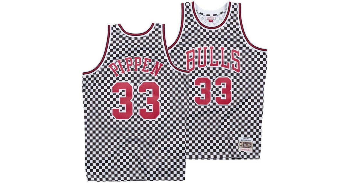 the best attitude e4a33 38d74 Mitchell & Ness Red Scottie Pippen Chicago Bulls Checkerboard Swingman  Jersey for men
