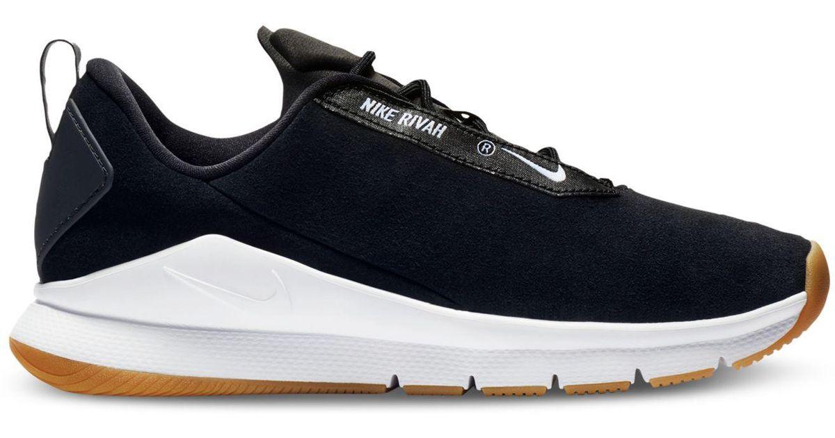 Nike Black Rivah Premium Casual Sneakers From Finish Line