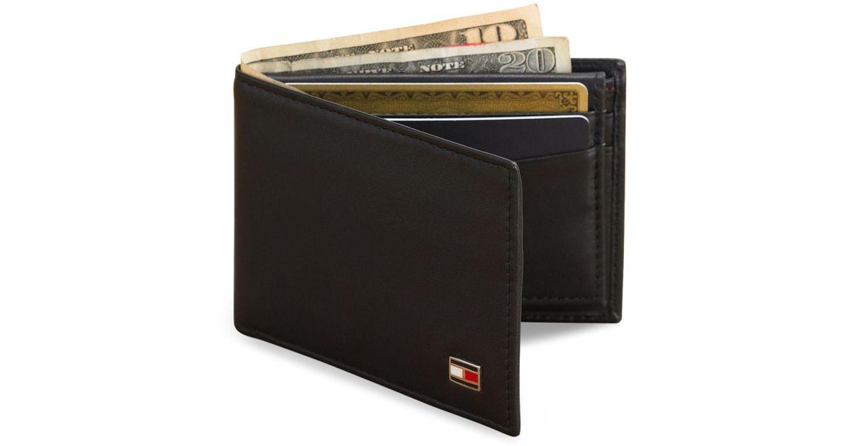 Tommy Hilfiger Mens Oxford Leather Slim Bifold Wallet Black One Size