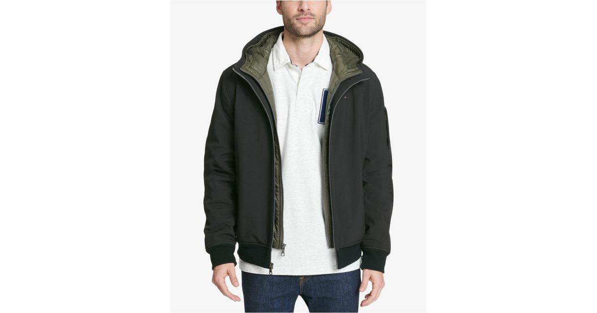 55e3125fc Tommy Hilfiger - Black Big & Tall Hooded Soft-shell Jacket With Inset  Quilted Puffer Bib for Men - Lyst