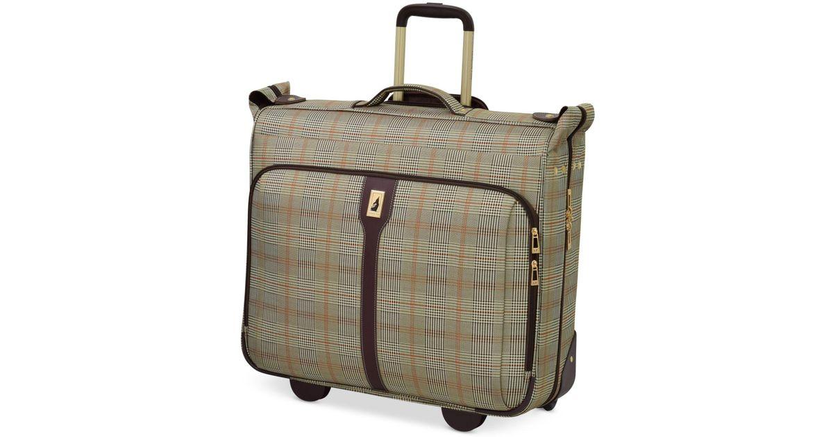 London Fog Brown Knightsbridge 44 Rolling Garment Bag