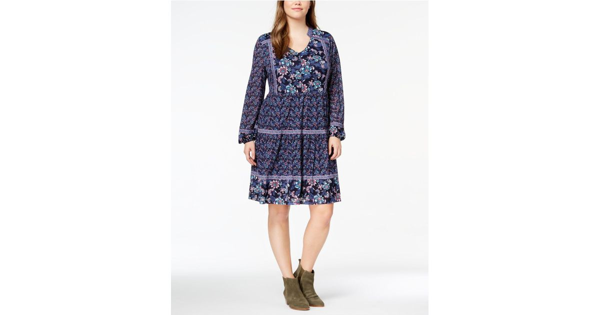 Lyst Style Co Plus Size Printed Peasant Dress In Blue