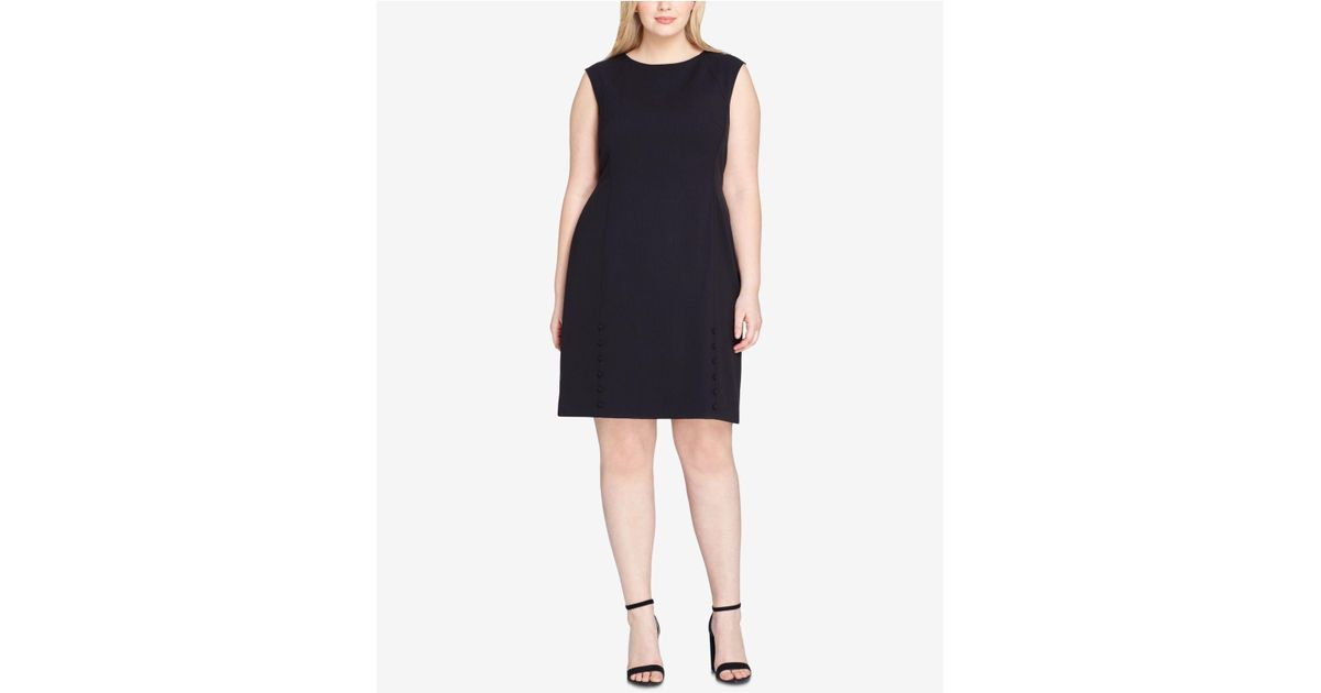 Lyst Tahari Plus Size Button Detail Dress In Black