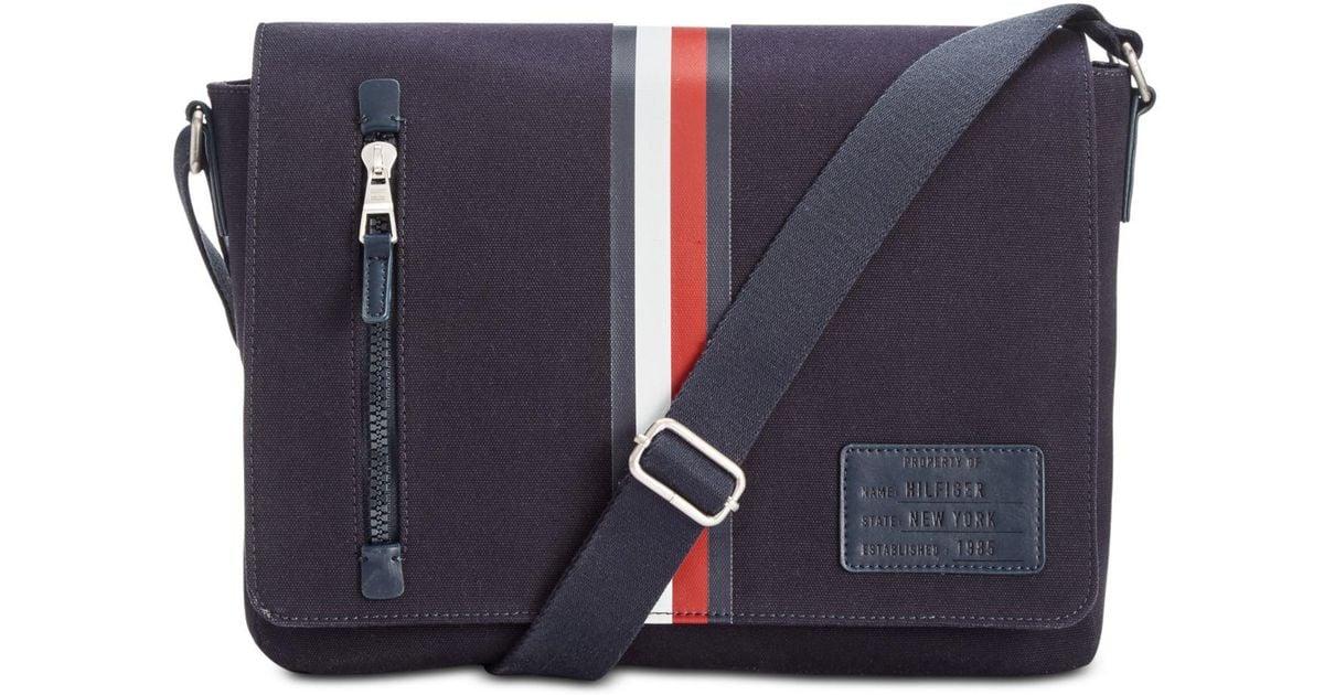 Tommy Hilfiger Blue Harrison Messenger Bag For Men