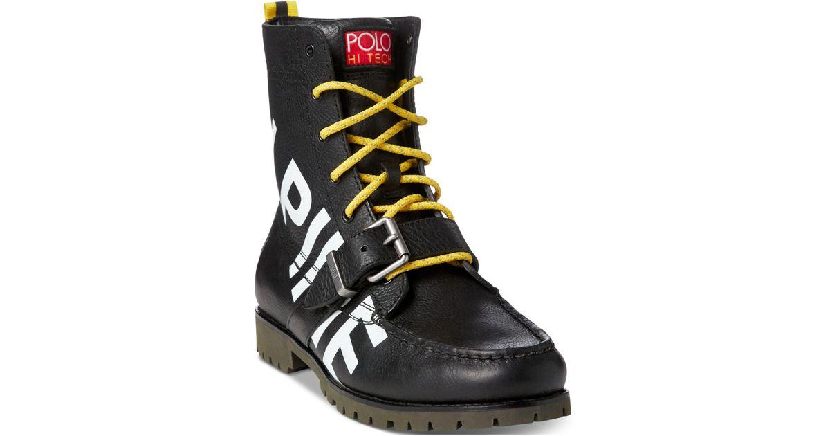 Leather Ranger Men For Polo Alpine Boots Ralph Lauren Black m0wvN8n
