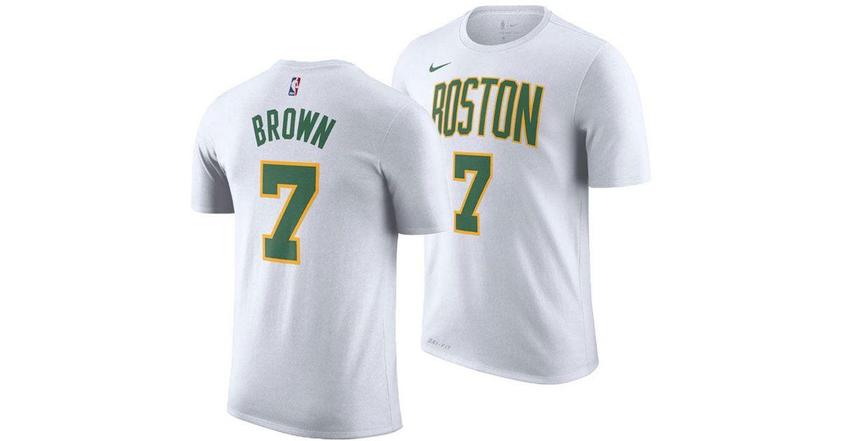 on sale ff745 cf664 Nike White Jaylen Brown Boston Celtics City Player T-shirt 2018 for men