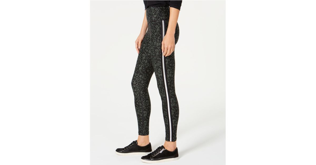 af62d348c1a11 Calvin Klein Performance Printed Metallic-stripe High-waist Leggings in  Black - Lyst