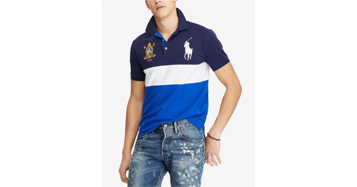 b5f90c098 Polo Ralph Lauren Big Pony Custom Slim Fit Mesh Polo in Blue for Men - Lyst