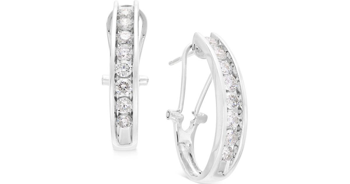 318e42529d9fe Macy's Metallic Diamond J Hoop Earrings (1 Ct. T.w.) In 10k Gold, White  Gold Or Rose Gold