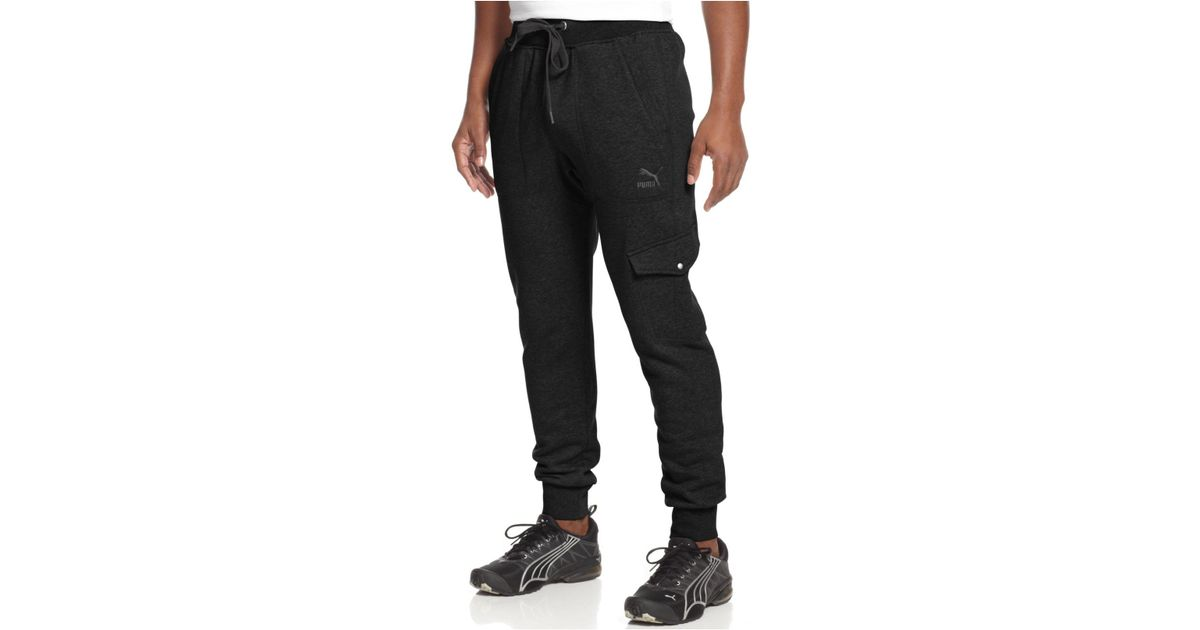 PUMA Cotton Knit Cargo Jogger Pants in Black for Men - Lyst