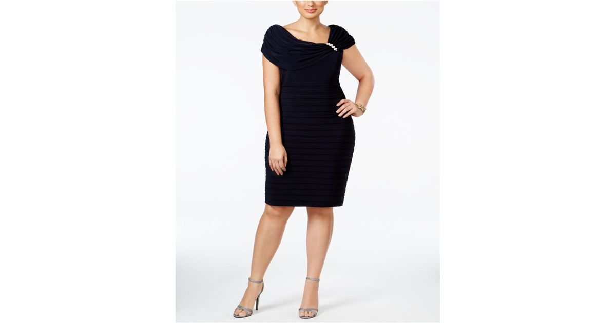 1e59088af56 Lyst - Xscape Plus Size Embellished Tiered Sheath Dress in Blue