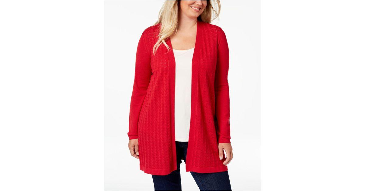 Lyst Karen Scott Plus Size Long Pointelle Knit Cardigan Sweater